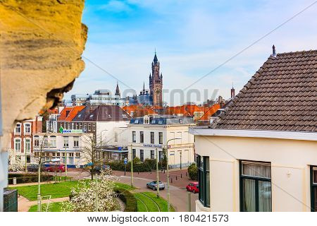 Hague, Netherlands - April 9, 2016: Aerial view of Peace Palace tower and houses in Hague, Netherlands