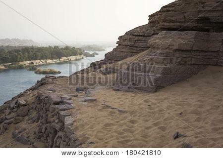 Sand dune landscape near Aswan in Egypt