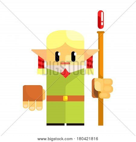 Cartoon dwarf gnome wearind hat with a staff in his hands. Fairy tale, fantastic, magical colorful character isolated on a white background