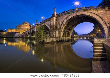 Panorama of Ponte Sant'Angelo and Castel Sant'Angelo in the Morning Rome Italy