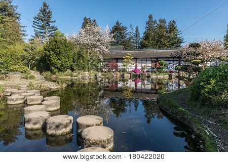Japanese garden on Versailles island in Nantes, France