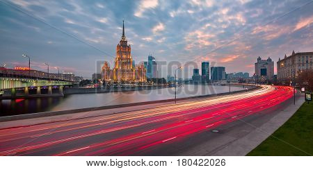 MOSCOW RUSSIA - 18 OCTOBER 2015: Hotel Ukraine (Radisson Royal Hotel) in Moscow Russia. One of the Seven Sisters in Moscow it was built in 1957 and it is 206 meters high.