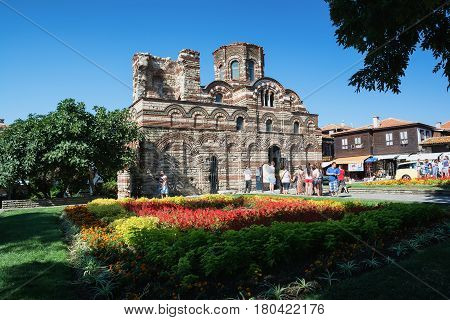 NESSEBAR, BULGARIA - AUGUST 14, 2016: The Church of Christ Pantocrator is a medieval Eastern Orthodox church in the old town of Nesebar, Bulgaria