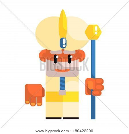Cartoon dwarf in the turban with staff in his hands. Fairy tale, fantastic, magical colorful character isolated on a white background