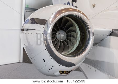 detailed insigh tturbine blades of an aircraft jet engine business jet engine close up high detailed view
