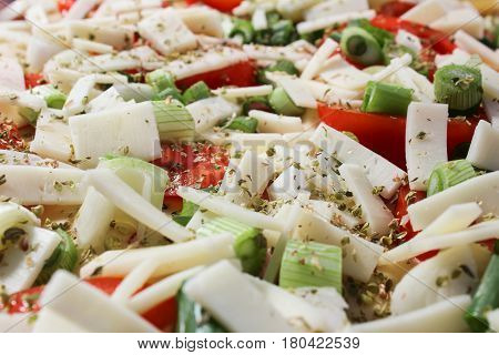 Tomato With Cheese Ham And Green Onion, From Close Up