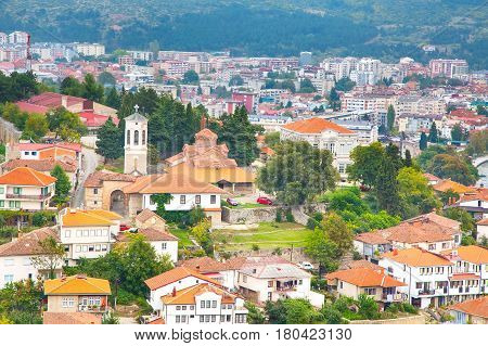 Aerial view of city of Ohrid in the Republic of Macedonia