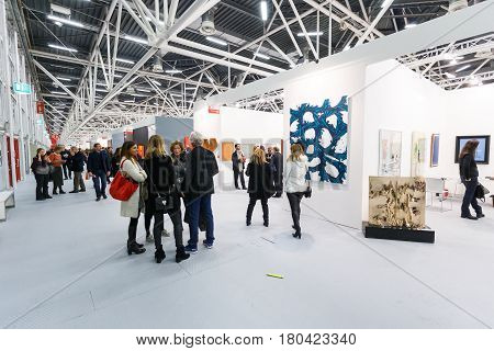 BOLOGNA, ITALY. JANUARY 28. People view the ArteFiera 40. Vernissage on January 28, 2016 in Bologna, Italy.