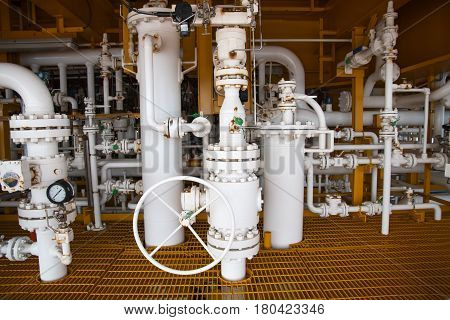 Manual operate ball valve at offshore oil and gas central processing platform manual valve