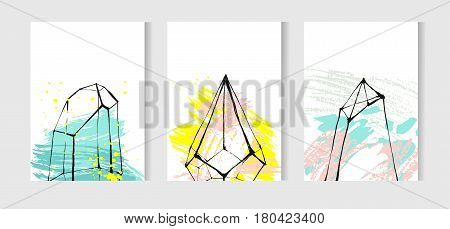 Hand drawn vector tropical unusual universal cards set collection with graphic glass terrariums. Scandinavian style illustration modern home decor.Birthdayweddingbusinessinvitation