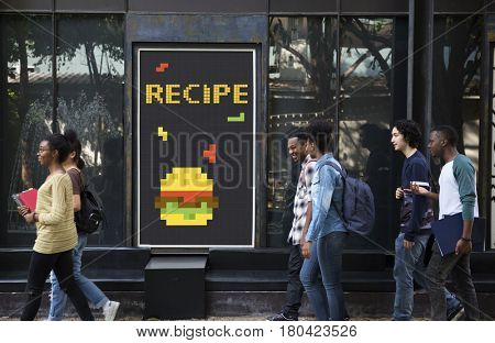 People with advertisement of 8 bit illustration of tasty burger meal
