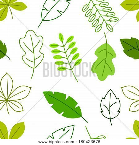 Seamless floral pattern with stylized green leaves. Spring or summer foliage.