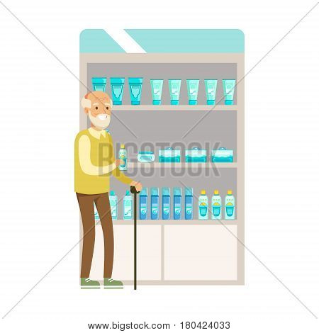 Old Man In Pharmacy Choosing And Buying Drugs And Cosmetics, Part Of Set Of Drugstore Scenes With Pharmacists And Clients. Vector Cartoon Illustration With Cute Character Shopping For Medicines And Medical Supplies.