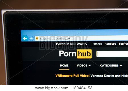 Nitra, Slovakia, april 7, 2017: Pornhub website homepage on laptop screen