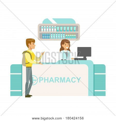 Guy With Backpack In Pharmacy Choosing And Buying Drugs And Cosmetics, Part Of Set Of Drugstore Scenes With Pharmacists And Clients. Vector Cartoon Illustration With Cute Character Shopping For Medicines And Medical Supplies.