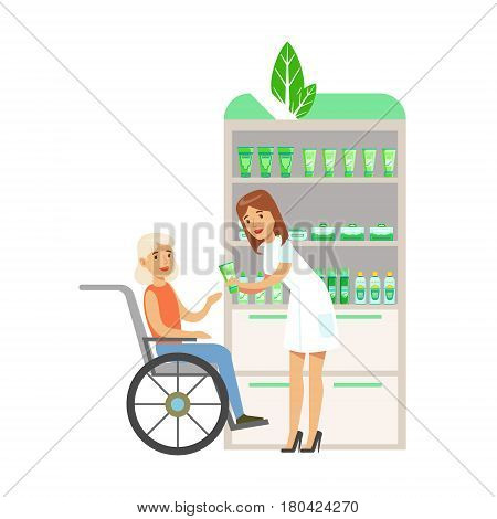 Woman In Wheelchair In Pharmacy Choosing And Buying Drugs And Cosmetics, Part Of Set Of Drugstore Scenes With Pharmacists And Clients. Vector Cartoon Illustration With Cute Character Shopping For Medicines And Medical Supplies.