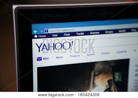 Nitra, Slovakia, april 7, 2017: Yahoo Homepage on laptop screen
