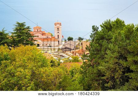 Saint Climent and Panteleimon Church in Ohrid, Macedonia aerial panoramic view