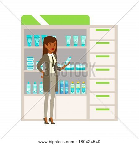 Woman Office Worker In Pharmacy Choosing And Buying Drugs And Cosmetics, Part Of Set Of Drugstore Scenes With Pharmacists And Clients. Vector Cartoon Illustration With Cute Character Shopping For Medicines And Medical Supplies.