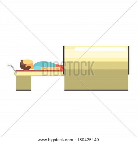 MRI, magnetic resonance imaging machine scanning patient inside. Consultation and medical diagnosis. Colorful cartoon character isolated on a white background