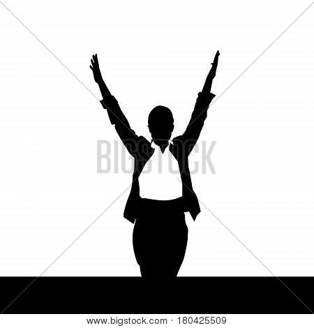Business Woman Black Silhouette Excited Raised Hands Over White Background Vector Illustration