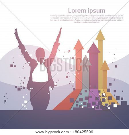 Business Woman Silhouette Excited Hold Hands Up Raised Arms, Concept Winner Finance Success Vector Illustration