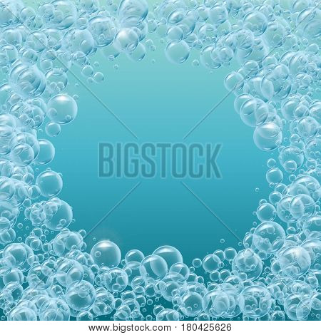 Round frame of realistic water bubbles. Template for aqua park, swimming pool, diving club design. Good for greeting card, banner, flyer, party invitation. Deep sea with bubbles and sprays underwater.