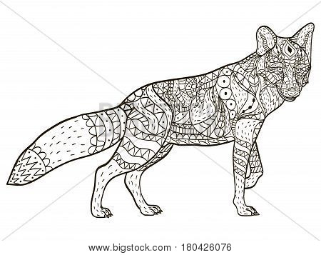 Fox animal coloring book for adults vector illustration. Anti-stress coloring for adult. Zentangle style. Black and white lines. Lace pattern