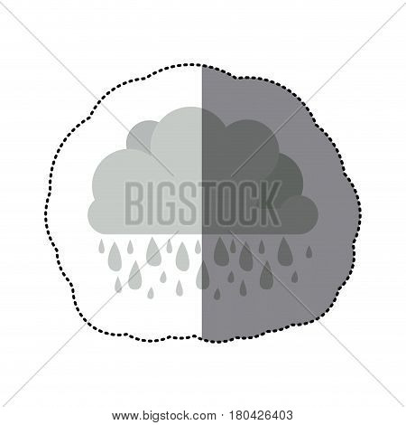sticker monochrome cumulus cloud with raindrops vector illustration