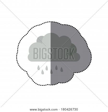 sticker shading monochrome cumulus cloud with raindrops vector illustration