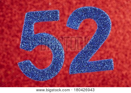 Number fifty-two blue over a red background. Anniversary. Horizontal