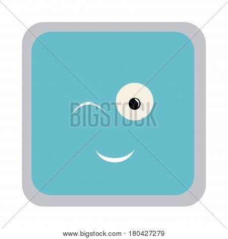 square colorful shape emoticon winking expression vector illustration