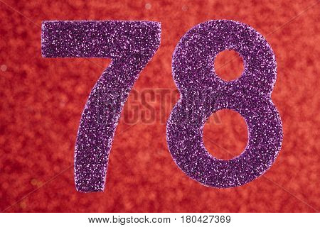 Number seventy-eight purple color over a red background. Anniversary. Birthday