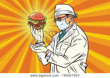 Scientist nutritionist and Burger fast food. Pop art retro vector illustration
