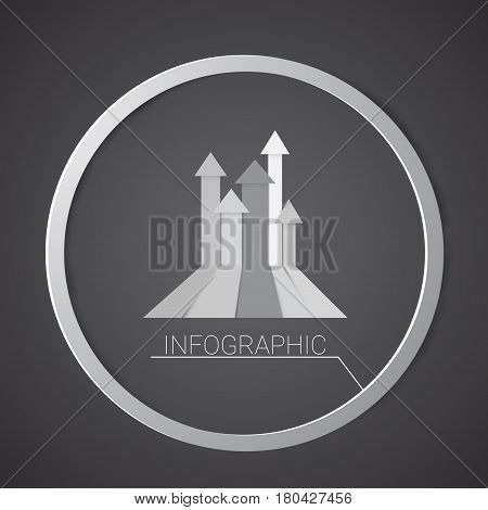 Graph Finance Arrow Infographic Icon Financial Business Chart Flat Vector Illustration