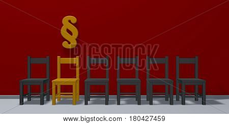 row of chairs and paragraph symbol - 3d rendering
