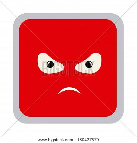 square colorful shape emoticon angry expression vector illustration