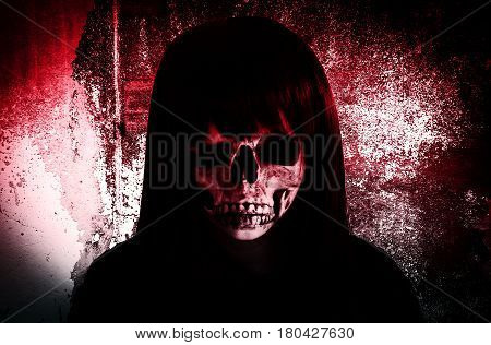 Ghost girl with scary face,Horror background for book cover