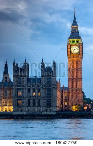 LONDON, ENGLAND - JUNE 16 2016: Houses of Parliament with Big Ben from Westminster bridge, London, England, Great Britain