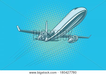 Passenger plane in the sky. Pop art retro vector illustration. Air transport