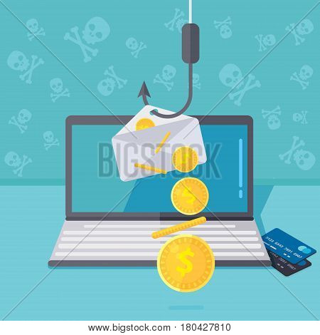 Phishing via internet vector concept illustration. Fishing by email spoofing or instant messaging. Hacking credit card or personal information website. Cyber banking account attack. Online sucurity.