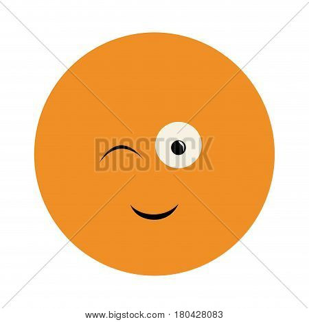 colorful emoticon winking face expression vector illustration