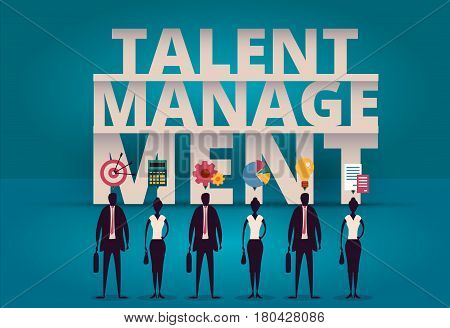 Business talent management concept. HR manager hiring employee or workers for job. Recruiting staff or personnel in company. Organizational socialization vector illustration. Acquisition or onboarding illustration.