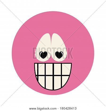 colorful emoticon crazy in love face expression vector illustration