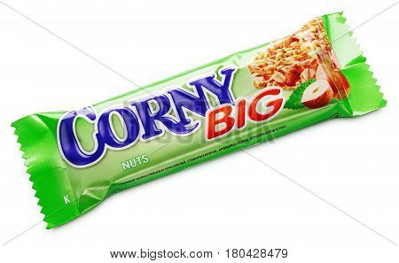 Corny Big (nuts Flavor) Muesli Bar Isolated On White Background