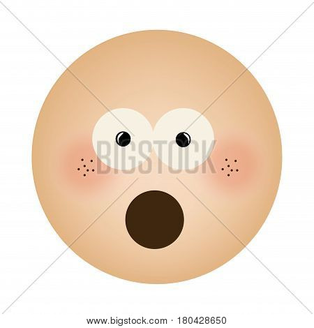 human face emoticon puzzled expression vector illustration