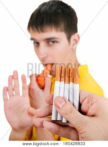 Young Man with Carrot refuse a Cigarettes Isolated on the White Background