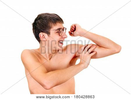 Young Man Muscle Flexing Isolated on the White Background