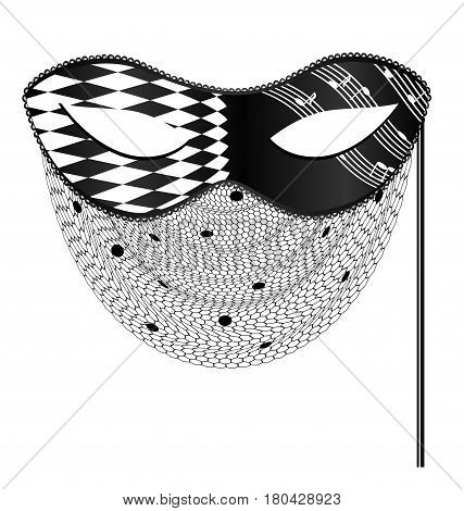white background, black carnival half mask with veil and stick