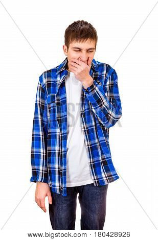 Young Man Yawning Isolated on the White Background